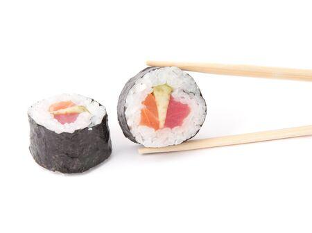 Sushi roll. Japanese food isolated on white background