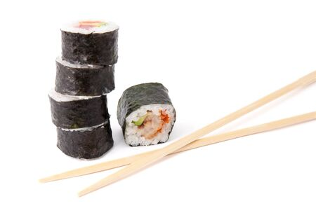 Sushi roll and chopsticks isolated on white background
