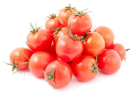 Tomatoes. Red ripe vegetables pile isolated on white background Foto de archivo - 150233097