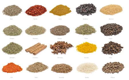 Spices. Large collection of spices with name titles. Isolated on white background Foto de archivo - 150233099
