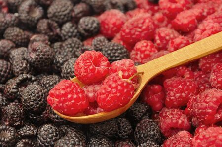 Blackberry and raspberry with wooden spoon. Berries background Foto de archivo - 150233101