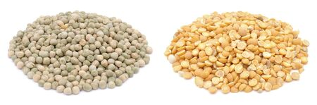Dry peas, whole green and halved yellow peas