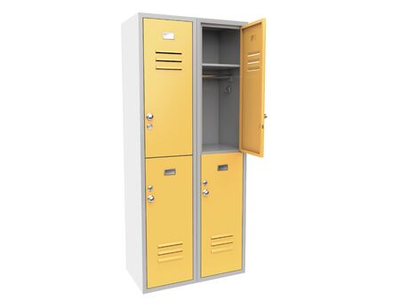 Yellow metal locker with open door. Two level compartment. 3d rendering illustration isolated on white background