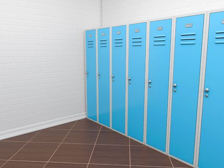 Red lockers in empty room. 3d rendering illustration