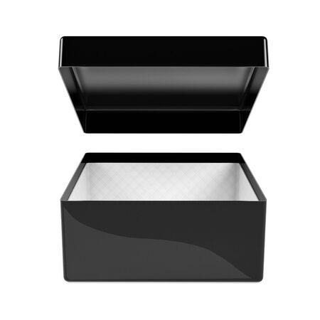 Black empty gift box box. 3d rendering illustration isolated on white background Foto de archivo