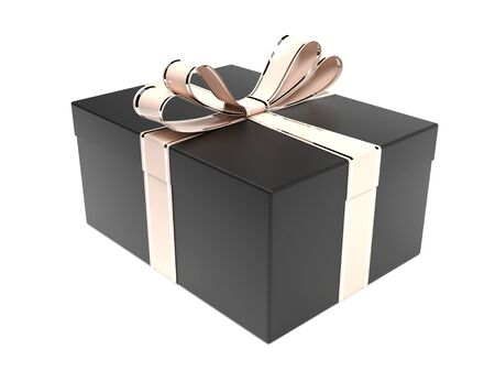 Black box. Present decorated with golden bow. 3d rendering illustration isolated on white background