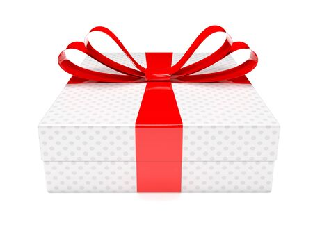 Gift box with red ribbon. 3d rendering illustration isolated on white background Foto de archivo