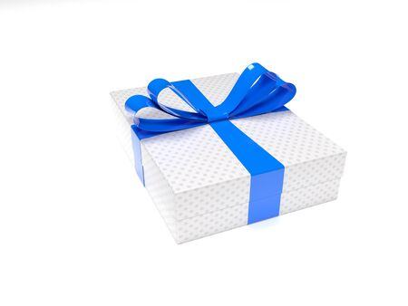 Gift box with blue ribbon. 3d rendering illustration isolated on white background
