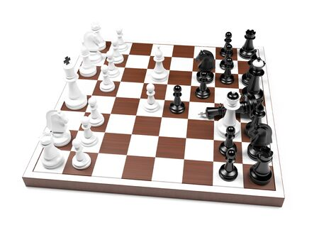 Chess game, white has won. Scholars mate. 3d rendering illustration. Foto de archivo - 150233109