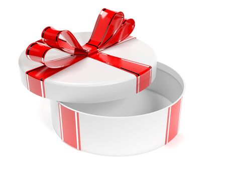 Round gift box. 3d rendering illustration isolated on white background
