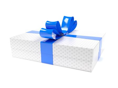 Gift box. White box with blue bow. 3d rendering illustration isolated on white background