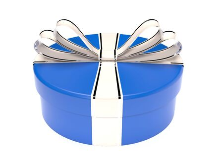 Round blue gift box. 3d rendering illustration isolated on white background Foto de archivo - 150233111