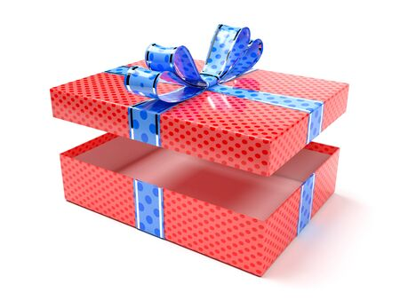 Red gift box with blue duct tape. 3d rendering illustration isolated on white background