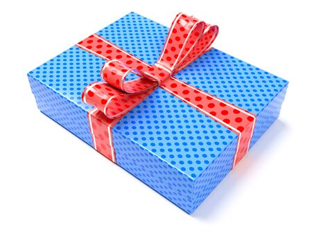 Gift box. Blue closed box with a bow. 3d rendering illustration isolated on white background