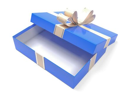 Blue gift box decorated with shiny ribbon. 3d rendering illustration isolated on white background Foto de archivo