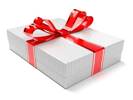 Gift box decorated with shiny red ribbon. 3d rendering illustration isolated on white background Foto de archivo