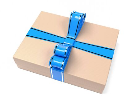 Gift box decorated with blue ribbon. Brown carton. 3d rendering illustration isolated on white background Foto de archivo