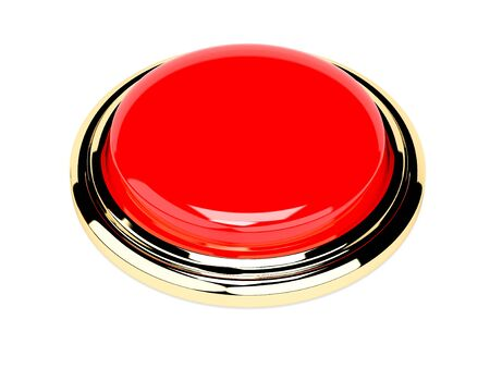 Red push button with golden frame. Shiny 3d element. 3d rendering illustration isolated on white background