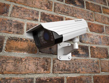 Surveilance CCTV camera on the red brick wall. 3d rendering illustration.
