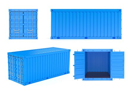 Blue shipping freight containers. 3d rendering illustration isolated on white background Foto de archivo