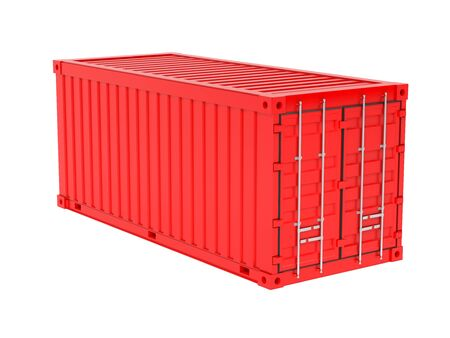 Shipping freight container. Red intermodal container. 3d rendering illustration isolated on white background Foto de archivo