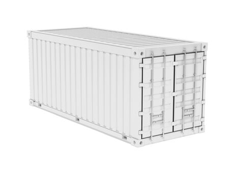 Shipping freight container. White intermodal container. 3d rendering illustration isolated on white background