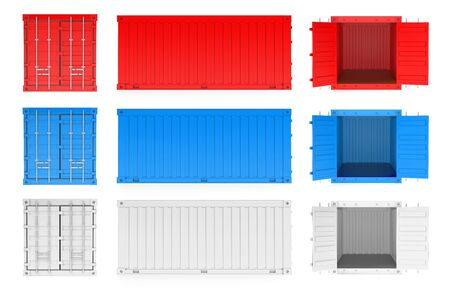 Shipping freight containers. 3d rendering illustration isolated on white background