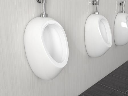 White ceramic urinals hanging on the wall in public toilet. 3d rendering illustration.