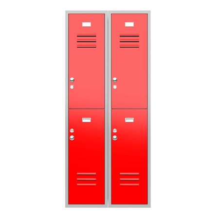 Red level gym lockers. 3d rendering illustration isolated on white background