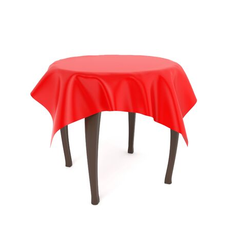 Wooden brown round table with red tablecloth. 3d rendering illustration isolated on white background