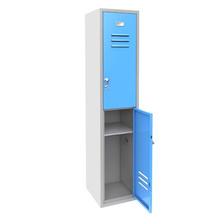 Blue metal locker. Two level compartment with open door. 3d rendering illustration isolated on white background