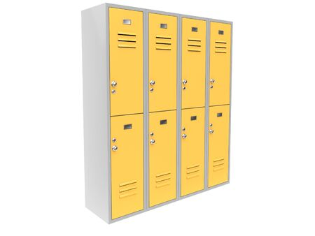 Row of yellow two level gym lockers. 3d rendering illustration isolated on white background Foto de archivo - 150186355