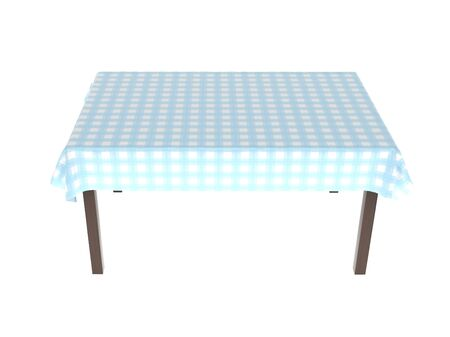 Table with blue tablecloth. 3d rendering illustration isolated on white background Foto de archivo