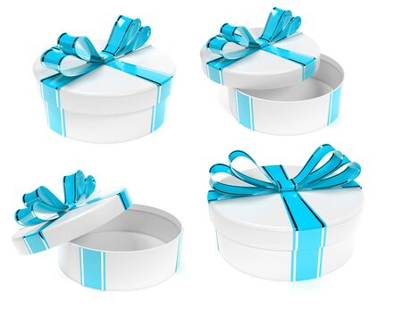 Round gift box decorated with blue ribbon bow. Set. 3d rendering illustration isolated on white background