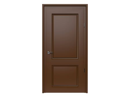 Brown door. 3d rendering illustration isolated on white background Foto de archivo