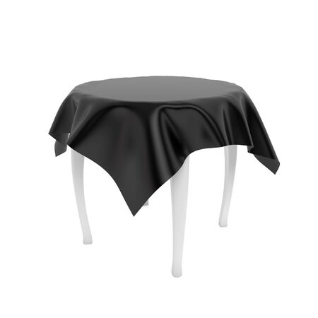 White round table with black tablecloth. 3d rendering illustration isolated on white background Foto de archivo - 150186374