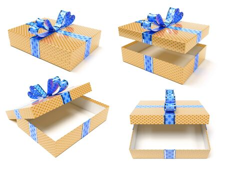 Gift boxes. Brown box with blue bow. 3d rendering illustration isolated on white background Zdjęcie Seryjne