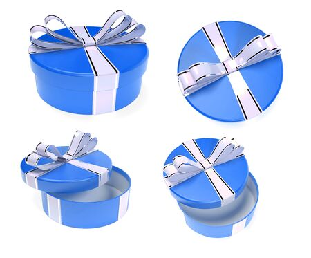 Round blue gift boxes. 3d rendering illustration isolated on white background Foto de archivo - 150233114