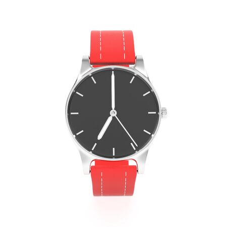 Watch with red bracelet. Front view. 3d rendering illustration isolated on white background