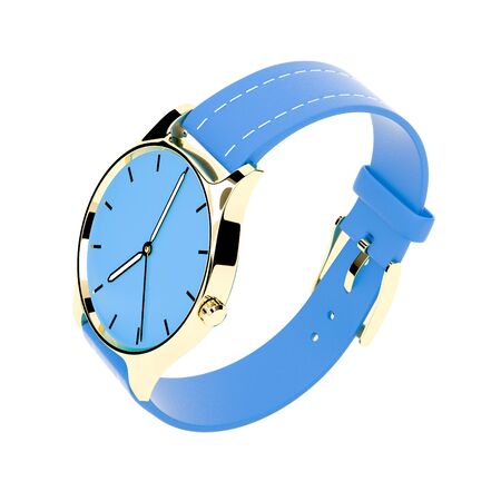 Wrist watch. Blue dial with golden case and blue leather bracelet. 3d rendering illustration isolated on white background Foto de archivo - 150186363