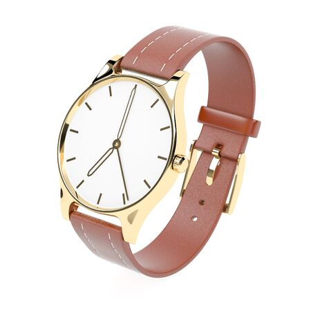 Wrist watch. White dial with golden case and brown leather bracelet. 3d rendering illustration isolated on white background Foto de archivo