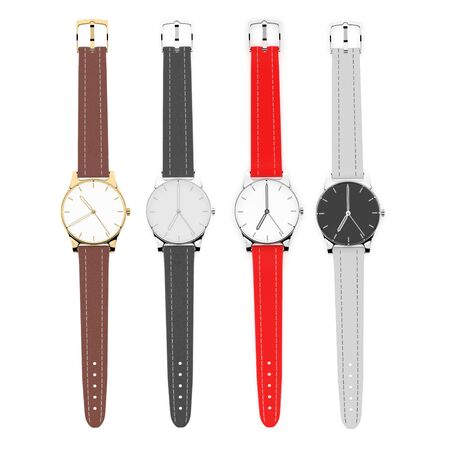 Watch set. 3d rendering illustration isolated on white background