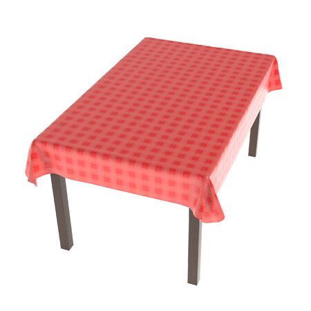 Table with red tablecloth. 3d rendering illustration isolated on white background. Foto de archivo