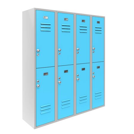 Row of blue two level gym lockers. 3d rendering illustration isolated on white background.