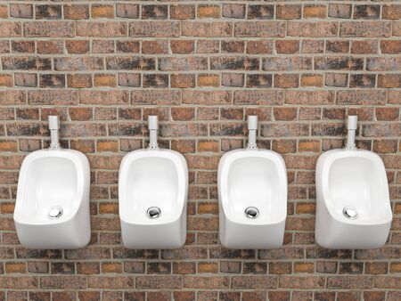 White ceramic urinals. On old red bricks wall. Public toilet. 3d rendering illustration. Foto de archivo - 150185824