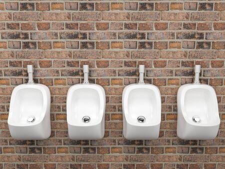 White ceramic urinals. On old red bricks wall. Public toilet. 3d rendering illustration. Zdjęcie Seryjne
