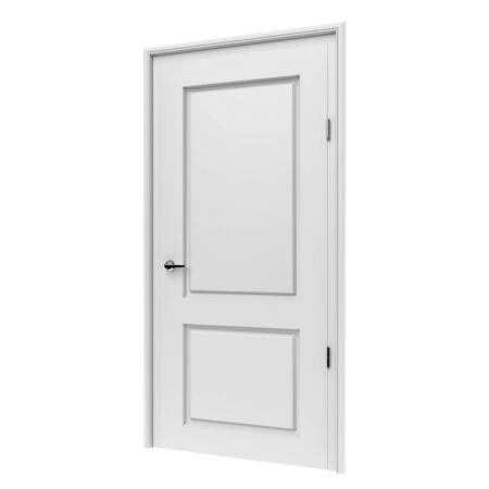 White door. 3d rendering illustration isolated on white background Foto de archivo - 150185867