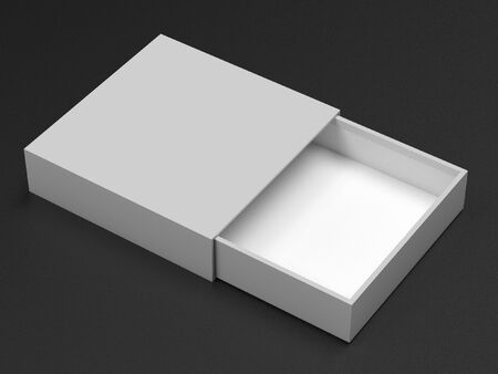 Slider box. Gray blank open box mock up. On black background. 3d rendering illustration.