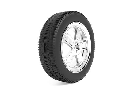 Car wheel. 3d rendering illustration isolated on white background Foto de archivo - 150190436
