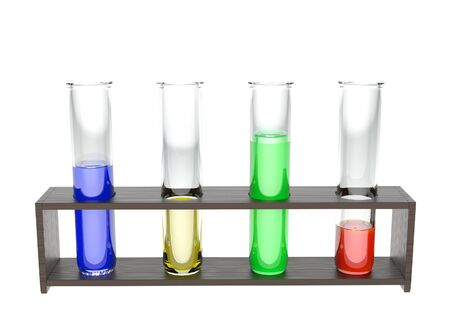 Chemical glass tubes with colored liquids. 3d rendering illustration isolated on white background Foto de archivo - 150190226